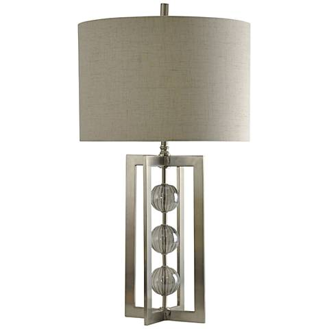 Trifecta Silver Stacked Orb Modern Table Lamp