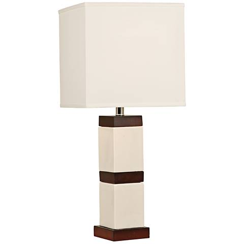 Block-Stripe Tech White Ceramic Column Table Lamp