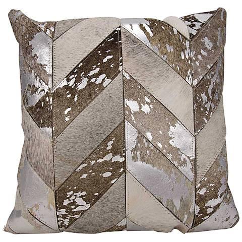 Kathy Ireland Metallic Chevron Silver 20-Inch-W Throw Pillow