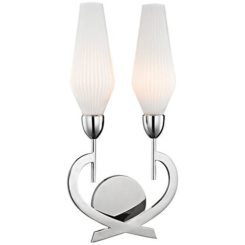 """Hudson Valley Downing 19 1/4""""H Polished Nickel Wall Sconce"""