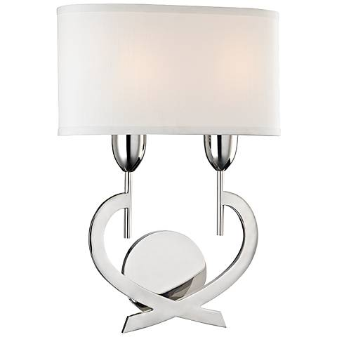 "Hudson Valley Downing 16 1/2""H Polished Nickel Wall Sconce"