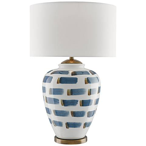 Currey and Company Brushstroke White Ceramic Table Lamp