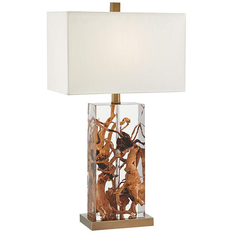 Currey and Company Durban Wood in Acrylic Table Lamp