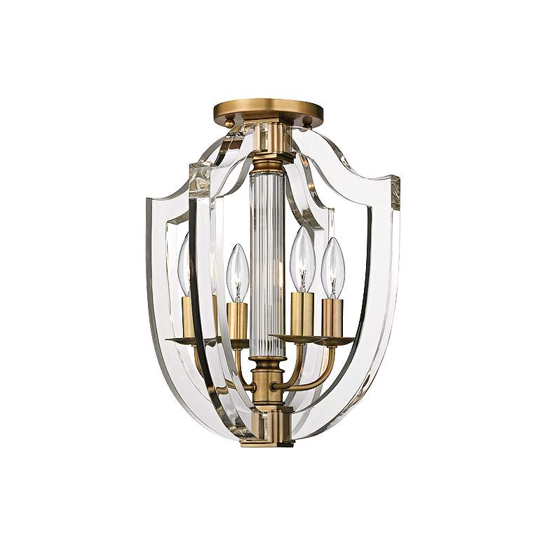 "Hudson Valley Arietta 12 1/2"" Wide Aged Brass Ceiling Light"