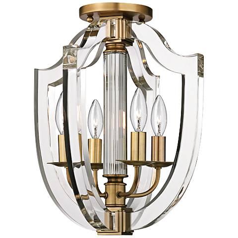 """Hudson Valley Arietta 12 1/2"""" Wide Aged Brass Ceiling Light"""