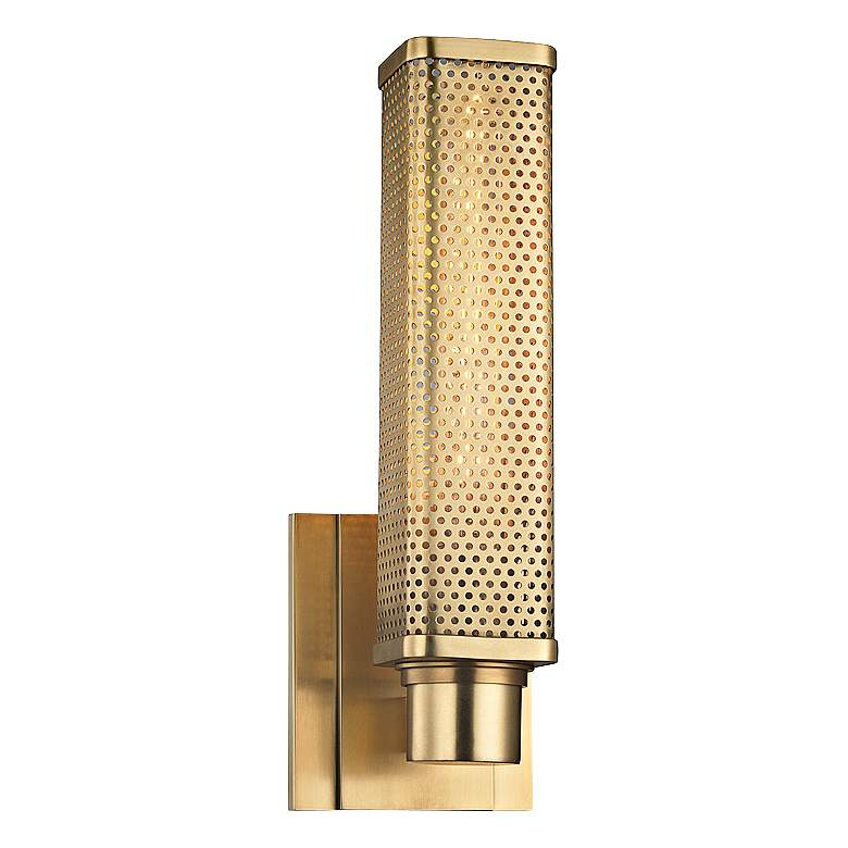 "Hudson Valley Gibbs 12 1/2"" High Aged Brass Wall Sconce"