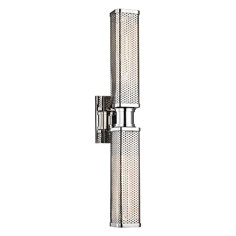 """Hudson Valley Gibbs 22 1/4""""H Polished Nickel Wall Sconce"""