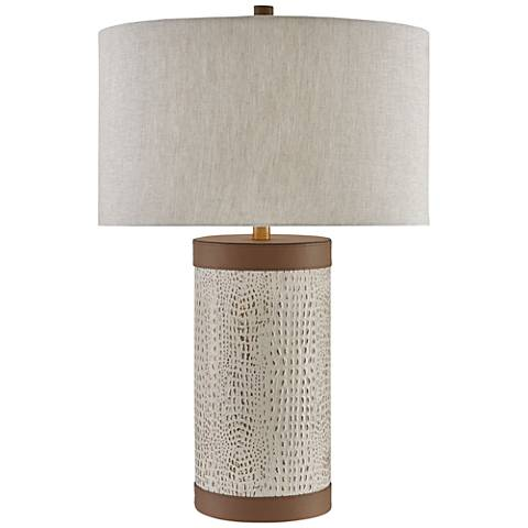 Currey and Company Baptiste Ivory Leather Table Lamp