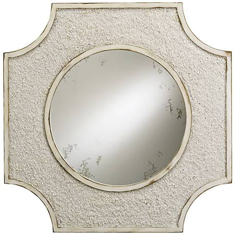 """Currey and Company Endsleigh White 28"""" Square Wall Mirror"""