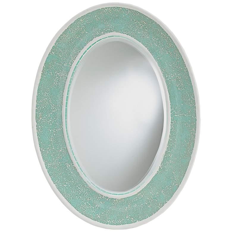 "Currey and Company Eos Aqua 23"" x 31"" Oval Wall Mirror"