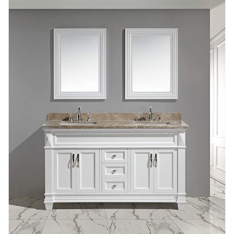 "Hudson 60"" Marble White Double Sink Vanity Set"