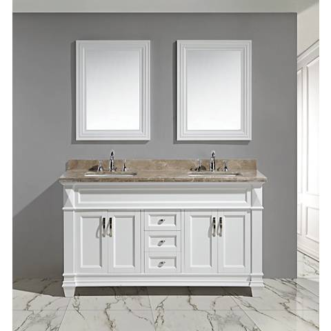 "Hudson 60"" Marble White Double Sink Vanity Set"
