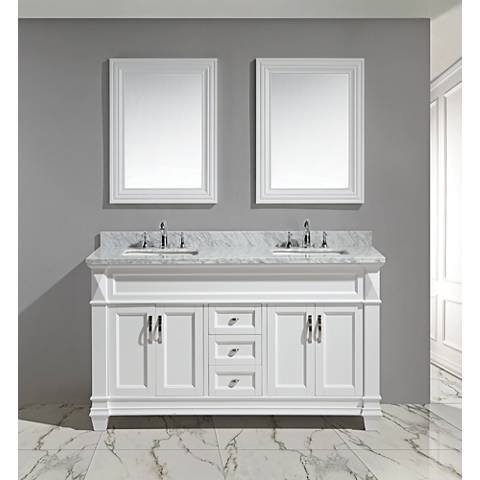 "Hudson 60"" White Carrara Marble White Double Sink Vanity Set"