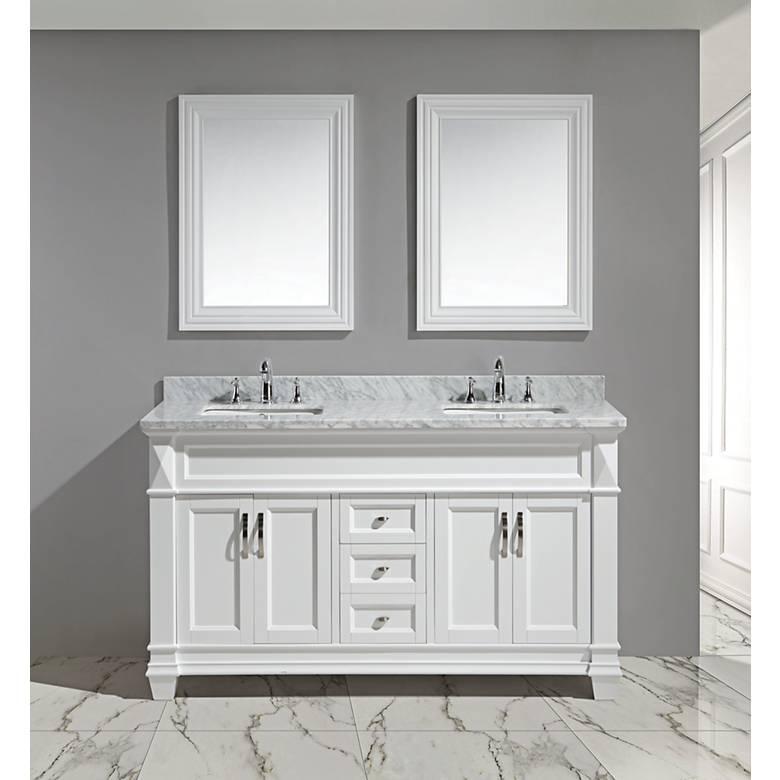 "Hudson 60"" White Carrara Marble White Double Sink Vanity Set"