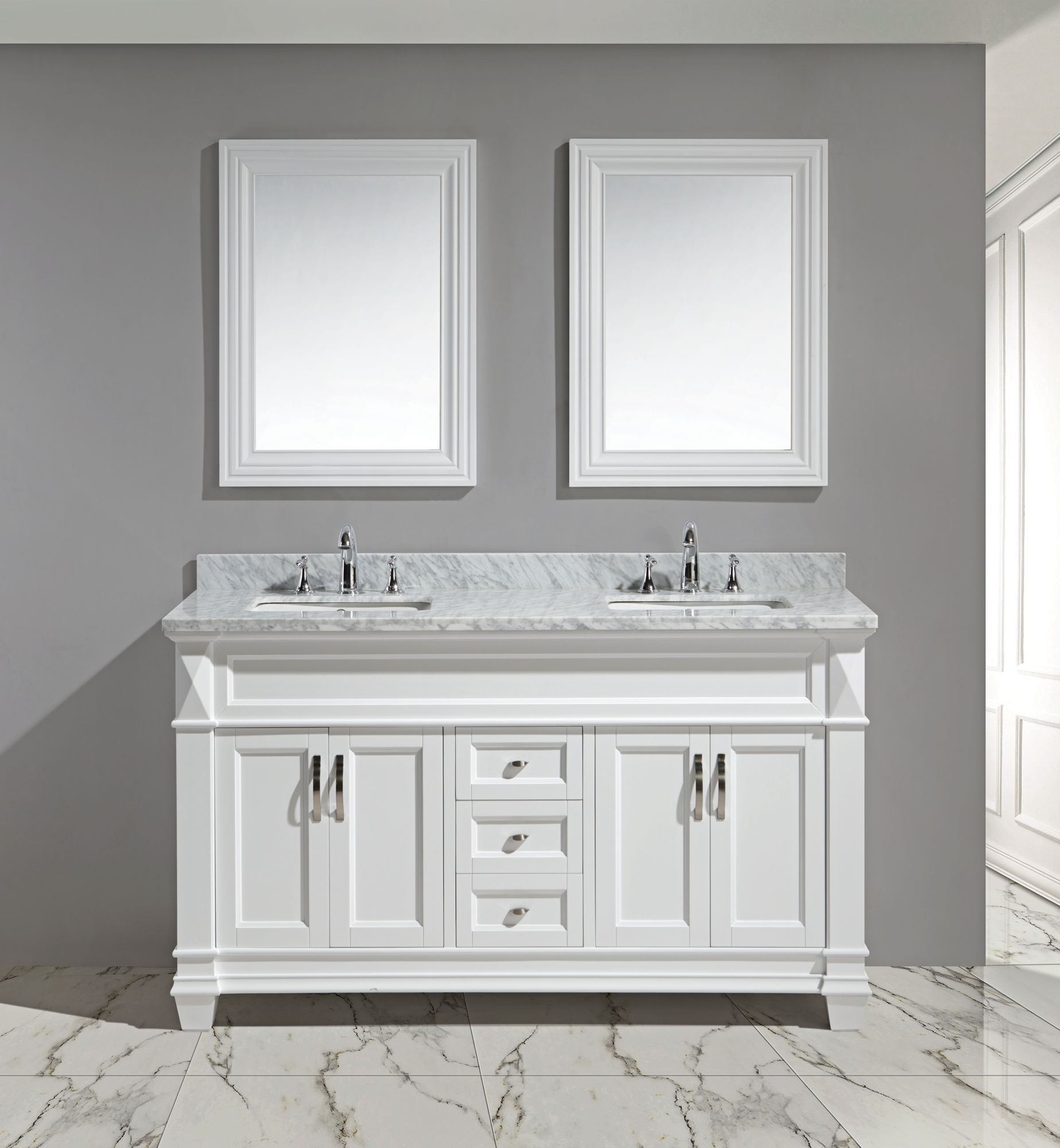 Hudson 60  White Carrara Marble White Double Sink Vanity Set & Double Sink Bathroom Vanities Cabinets And Storage | Lamps Plus