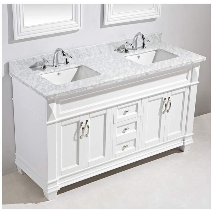 Hudson 72 Marble White Double Sink Vanity Set 9r251 Lamps Plus