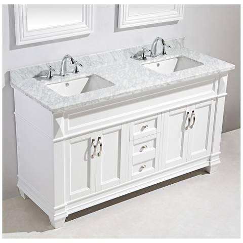 "Hudson 72"" Marble White Double Sink Vanity Set"