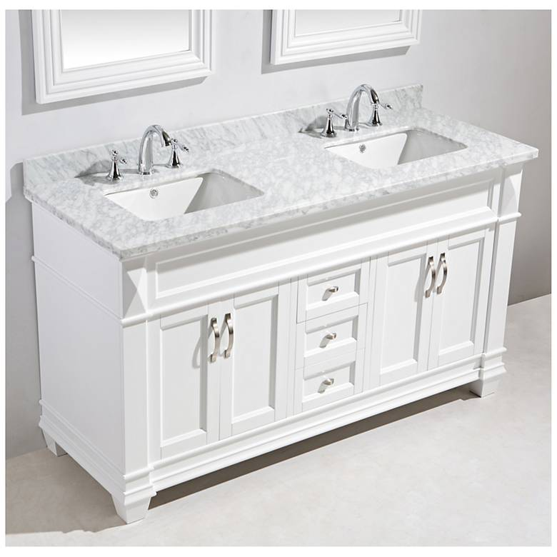 "Hudson 72"" Marble White Double Sink Vanity Set"