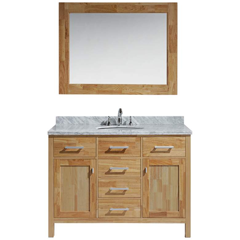 "London 48"" Carrara Marble Honey Oak Single Sink Vanity Set"