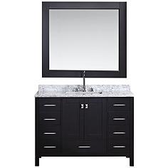 "London 48"" Marble Espresso 9-Drawer Single Sink Vanity Set"