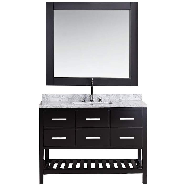 "London 48"" Marble Espresso Six-Drawer Single Sink Vanity"