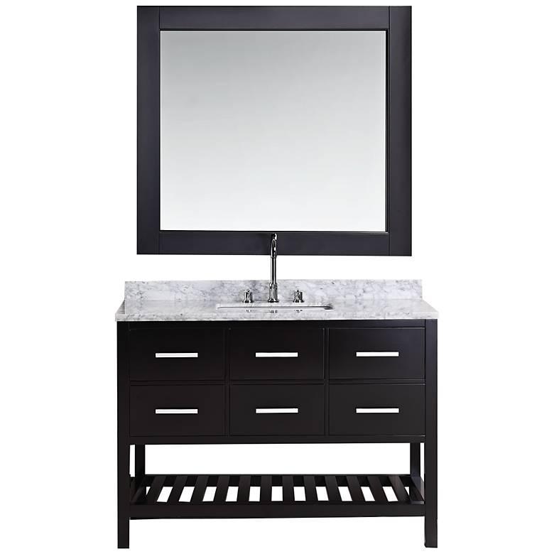"London 48"" Marble Espresso Six-Drawer Single Sink Vanity Set"