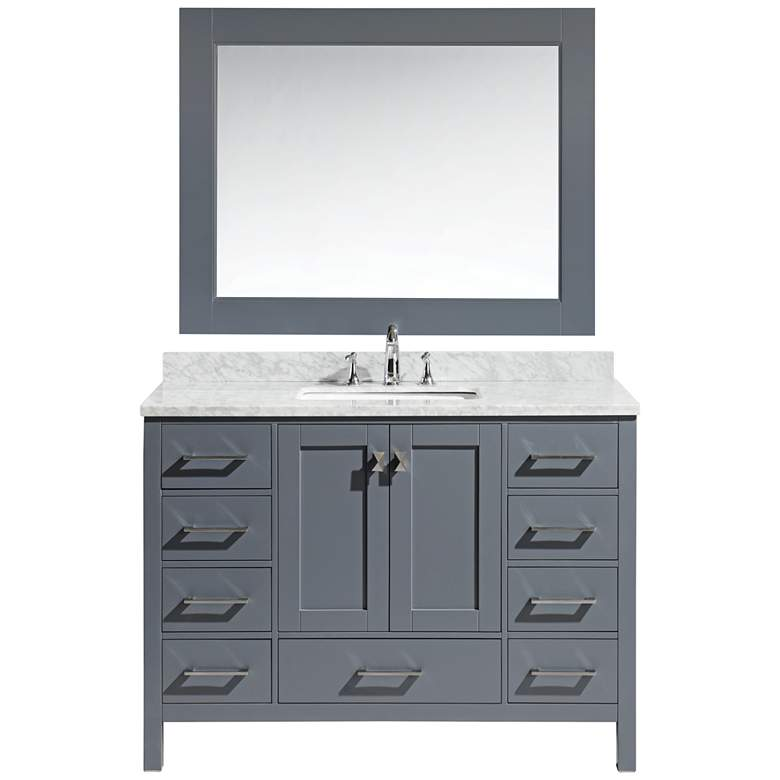 "London 48"" Carrara Marble Gray Single Sink Vanity"
