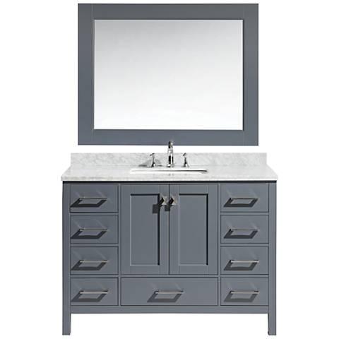 "London 48"" Carrara Marble Gray Single Sink Vanity Set"