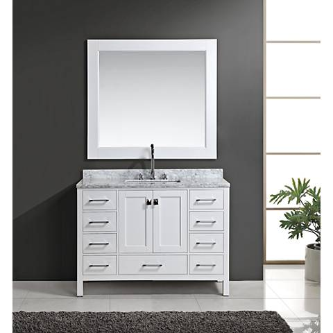 "London 48"" Marble White 9-Drawer Single Sink Vanity Set"
