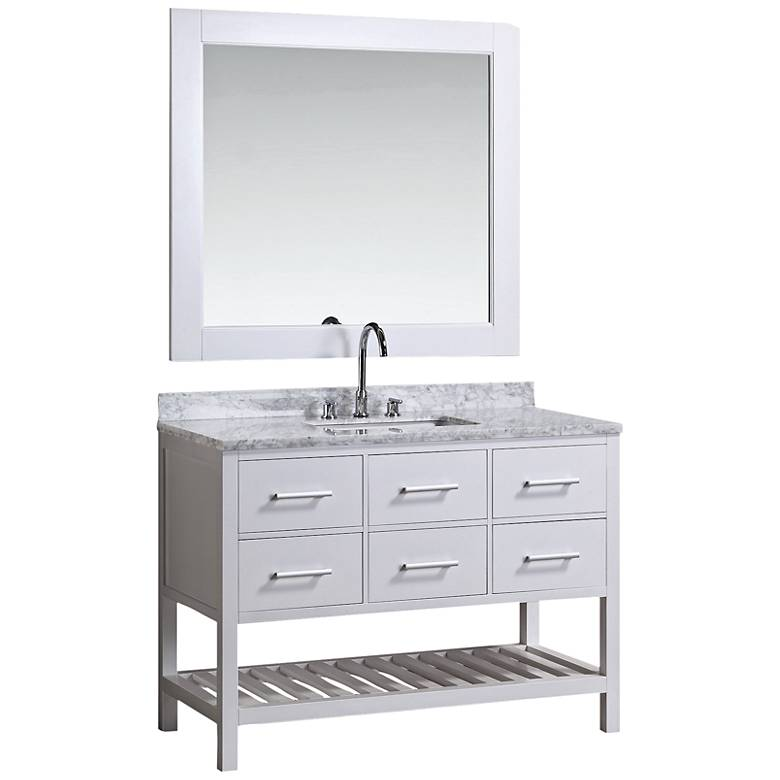 "London 48"" Marble White Six-Drawer Single Sink Vanity Set"