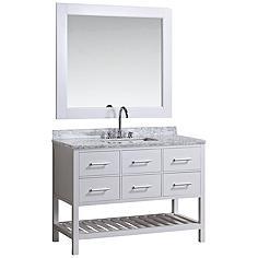"London 48"" Marble White Six-Drawer Single Sink Vanity Set"
