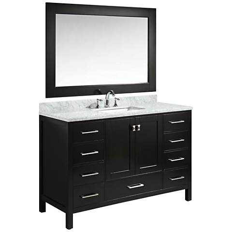 "London 54"" Carrara Marble Espresso Single Sink Vanity Set"