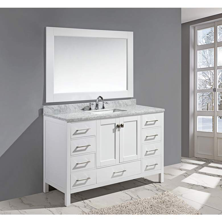 "London 54"" Carrara Marble White Single Sink Vanity Set"