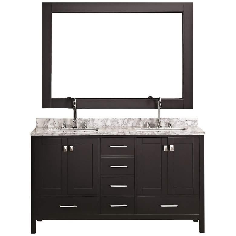 "London 60"" Carrara Marble Espresso Double Sink Vanity Set"