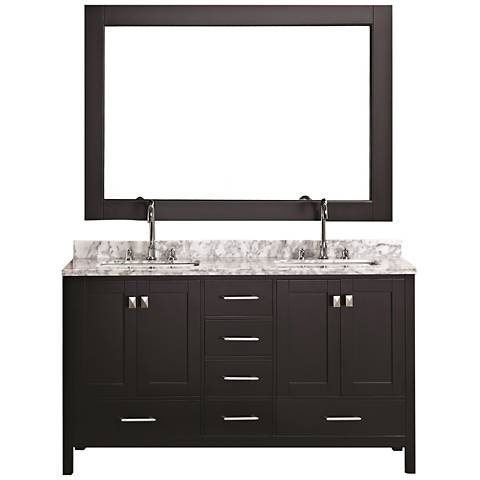 "London 60"" Carrara Marble Espresso Double Sink Vanity Set"