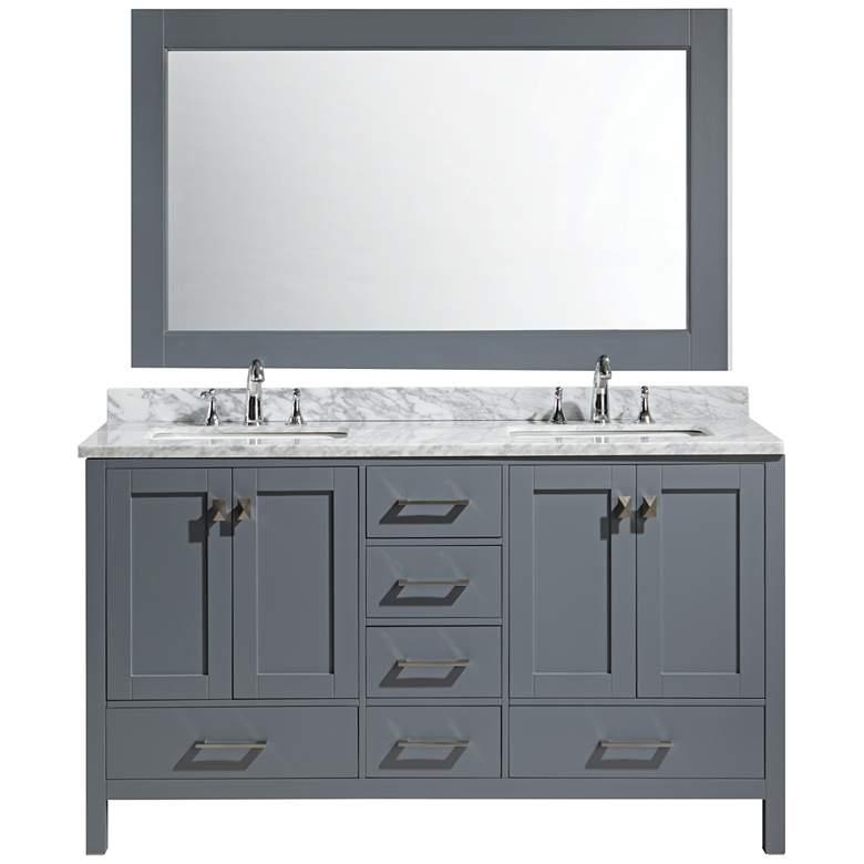 "London 60"" Carrara Marble Gray Double Sink Vanity"