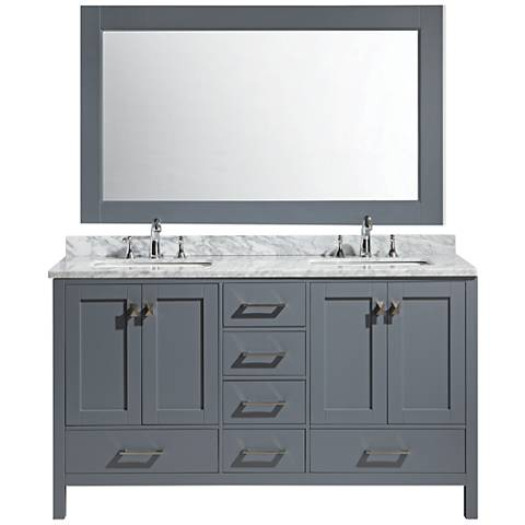 "London 60"" Carrara Marble Gray Double Sink Vanity Set"