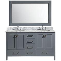 "London 60"" Carrara Marble Gray Double Sink Vanity Set"