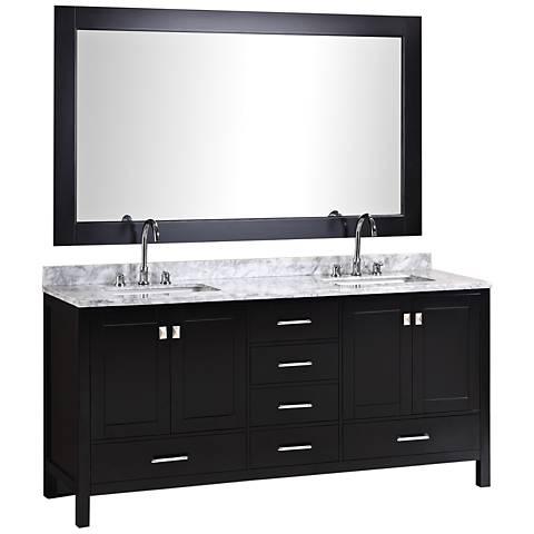 "London 72"" Carrara Marble Espresso Double Sink Vanity Set"