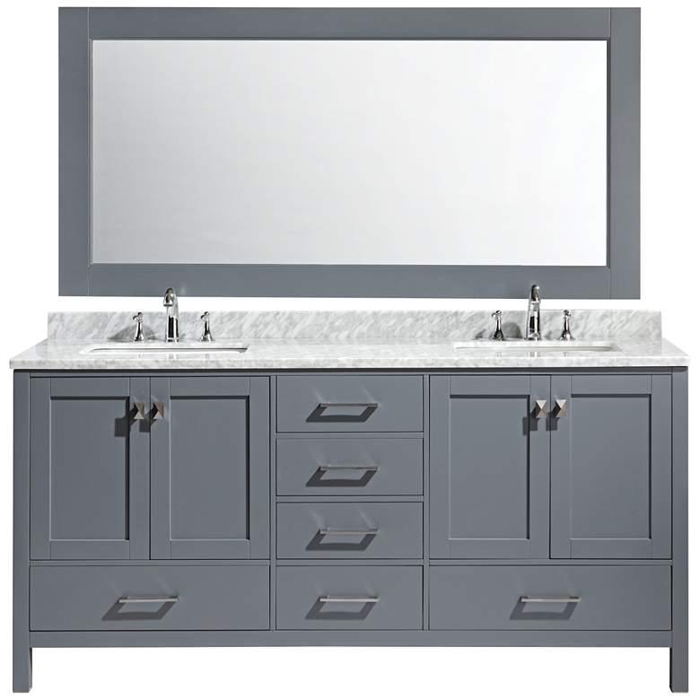 "London 72"" Carrara Marble Gray Double Sink Vanity Set"