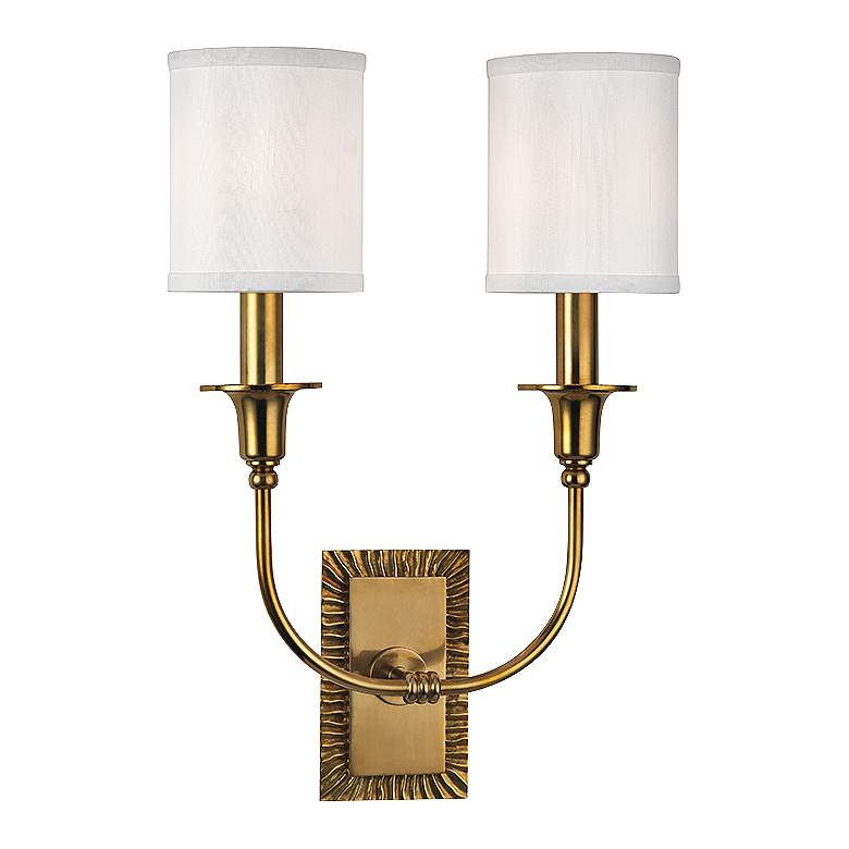 "Hudson Valley Dover 17 3/4"" High Aged Brass Dual Wall Sconce"