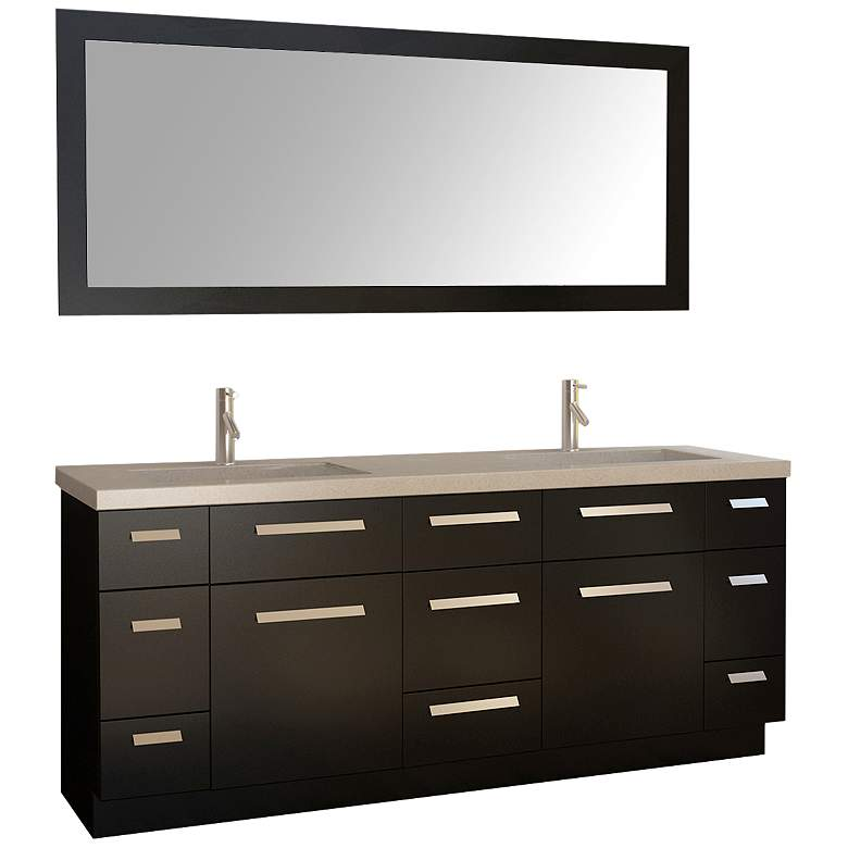 "Moscony 72"" Espresso Double Sink Vanity Set with Mirror"