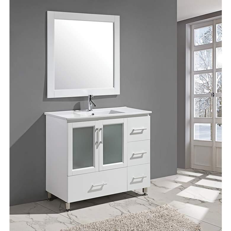 "Stanton 40"" Porcelain White Single Sink Vanity Set"