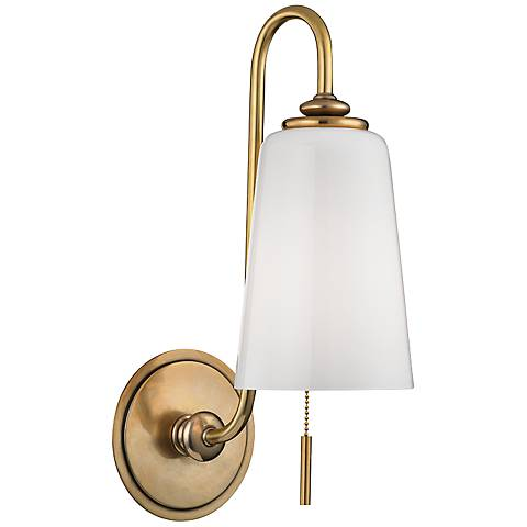 """Hudson Valley Glover 16"""" High Aged Brass Wall Sconce"""