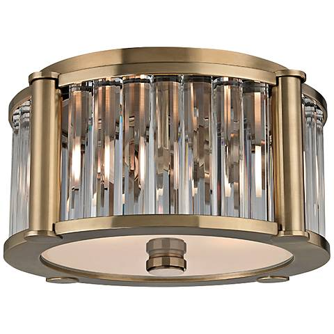 "Hudson Valley Hartland 11 3/4"" Wide Aged Brass Ceiling Light"