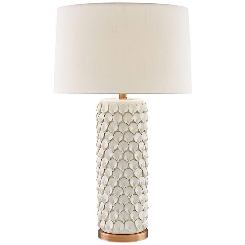 Currey and Company Calla Lily Cream Ceramic Table Lamp