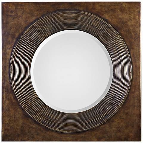 "Uttermost Eason Golden Bronze 36"" Square Wall Mirror"
