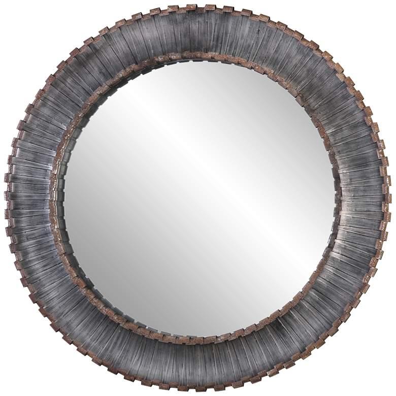 "Uttermost Tanaina Silver Strip 46"" Round Wall Mirror"
