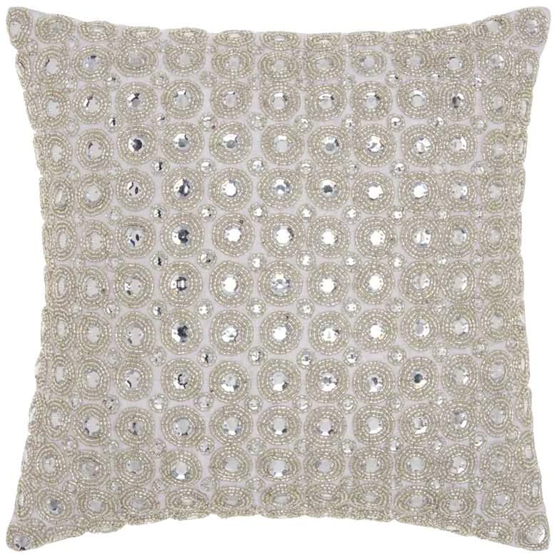 "Kathy Ireland Beaded 12"" Square Gray Throw Pillow"