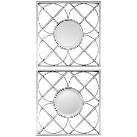 "Uttermost Silver Leaf 20"" Square Wall Mirror Set of 2"